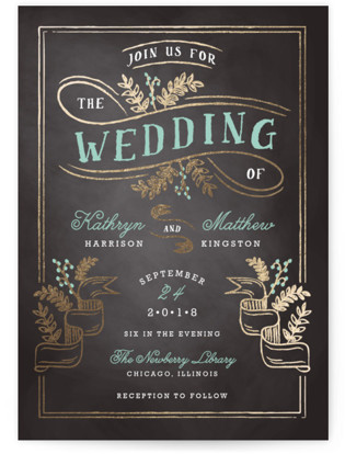 Floral Chalkboard Foil-Pressed Wedding Invitations