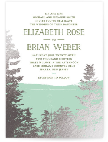 This is a portrait illustrative, painterly, rustic, green Wedding Invitations by Ariel Rutland called Mountain View with Foil Pressed printing on Signature in Classic Flat Card format. A mountaintop view frames a wedding invitation for the nature loving couple.
