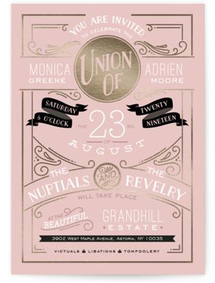 Romantic Revelry Foil-Pressed Wedding Invitations