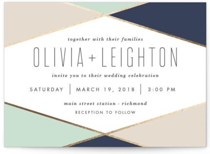 Minimal Mod Foil-Pressed Wedding Invitations
