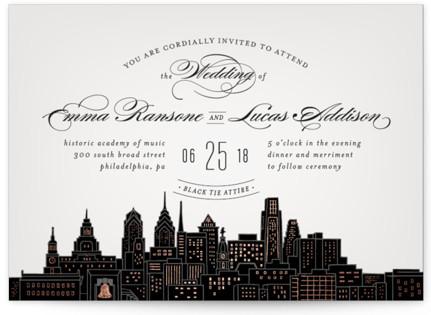 Big City - Philadelphia Foil-Pressed Wedding Invitations
