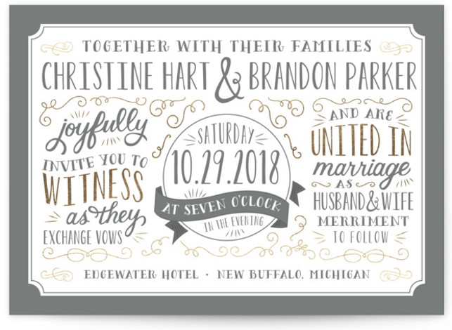 This is a landscape rustic, grey Wedding Invitations by Sarah Brown called Serendipity with Foil Pressed printing on Signature in Classic Flat Card format. This whimsical wedding invitation features typography inspired by vintage posters.