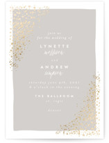 This is a gold foil stamped wedding invitation by AK Graphics called River Rock with foil-pressed printing on signature in standard.
