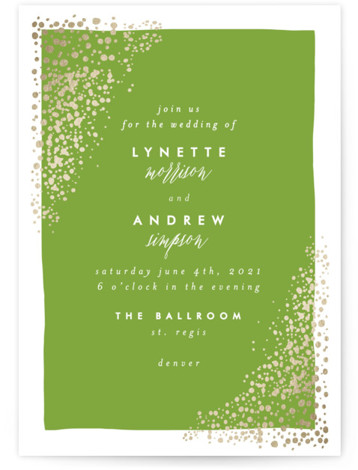This is a portrait modern, painterly, gold, green Wedding Invitations by AK Graphics called River Rock with Foil Pressed printing on Signature in Classic Flat Card format. A serene wedding announcement featuring gilded, original hand illustrated river rock.