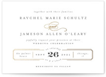 This is a gold foil stamped wedding invitation by Carolyn Nicks called Proper with foil-pressed printing on signature in standard.