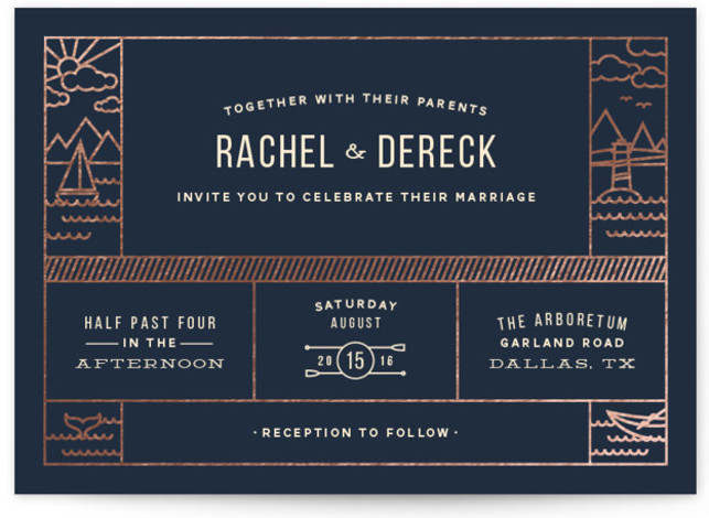 Nautical By Nature Foil-Pressed Wedding Invitations