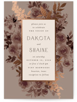 This is a brown foil stamped wedding invitation by Everett Paper Goods called Blooms with foil-pressed printing on signature in standard.