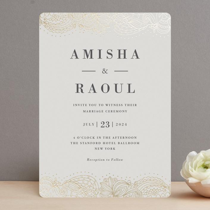 """Elegant Henna"" - Foil-pressed Wedding Invitations in Champagne by Oma N. Ramkhelawan."