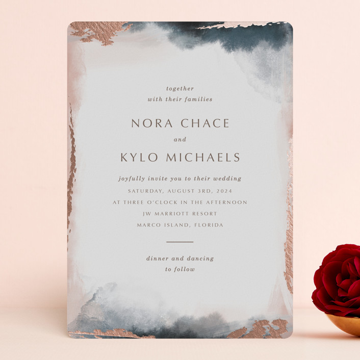 """Watercolor Sunset"" - Foil-pressed Wedding Invitations in Sunset Rose by Stellax Creative."