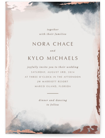 Watercolor Sunset Foil-Pressed Wedding Invitations