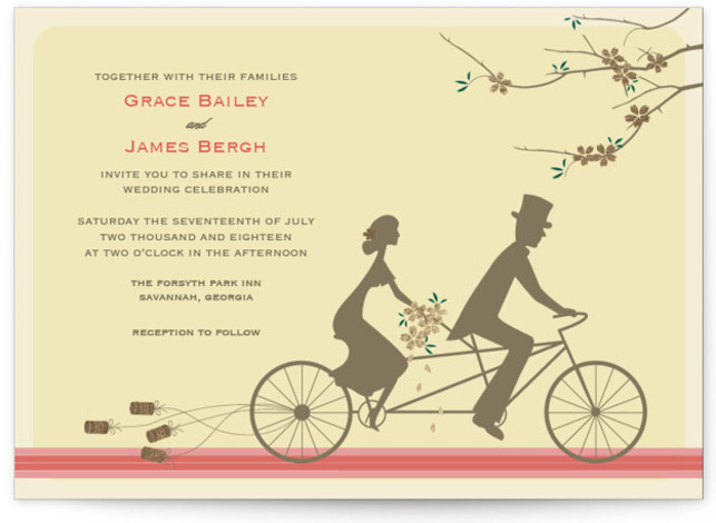 This is a landscape illustrative, offbeat, whimsical, yellow Wedding Invitations by Letter19Design called Journey Together with Foil Pressed printing on Signature in Classic Flat Card format. A fun, colorful, unique wedding invitation for a playful couple.