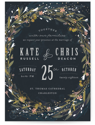 Floral Crown Foil-Pressed Wedding Invitations