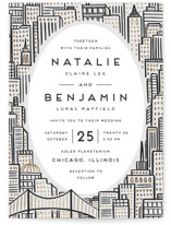 This is a black and white foil stamped wedding invitation by Snow and Ivy called City with foil-pressed printing on signature in standard.