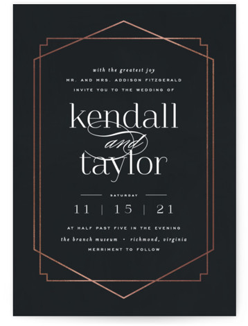 This is a black foil stamped wedding invitation by carly reed walker called Vision with foil-pressed printing on signature in standard.