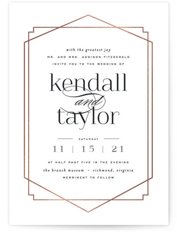 This is a portrait modern, painterly, black and white, rosegold Wedding Invitations by carly reed walker called Vision with Foil Pressed printing on Signature in Classic Flat Card format. Classic design meets modern and bold typography