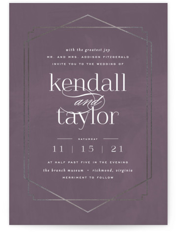 This is a portrait modern, painterly, purple, silver Wedding Invitations by carly reed walker called Vision with Foil Pressed printing on Signature in Classic Flat Card format. Classic design meets modern and bold typography
