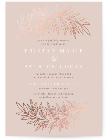 This is a pink foil stamped wedding invitation by Katharine Watson called Foiled Branches with foil-pressed printing on signature in standard.