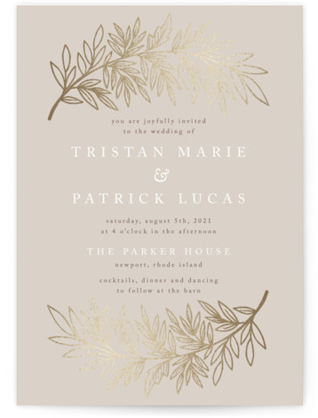 This is a portrait beige, gold Wedding Invitations by Katharine Watson called Foiled Branches with Foil Pressed printing on Signature in Classic Flat Card format. This design uses a hand sketched botanical border to create a unique, rustic wedding invitation. ...