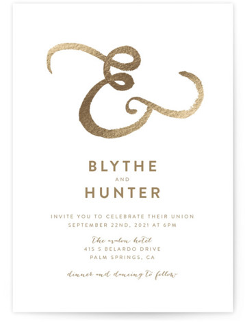 This is a brown foil stamped wedding invitation by Smudge Design called Avalon with foil-pressed printing on signature in standard.
