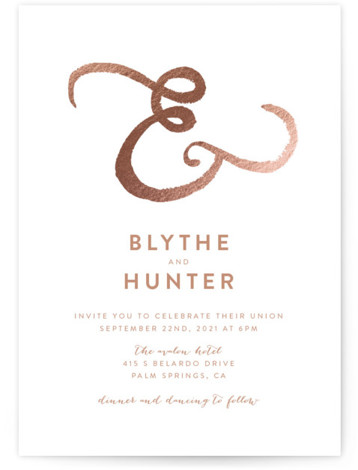 This is a portrait bold and typographic, modern, pink, rosegold Wedding Invitations by Smudge Design called Avalon with Foil Pressed printing on Signature in Classic Flat Card format. This hand painted watercolor ampersand creates the perfect balance of modern minimalism ...