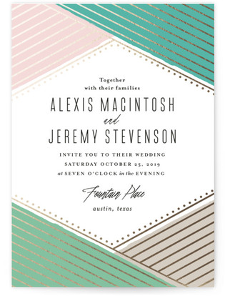 Overlap Foil-Pressed Wedding Invitations