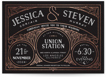 This is a black foil stamped wedding invitation by GeekInk Design called Halcyon with foil-pressed printing on signature in standard.