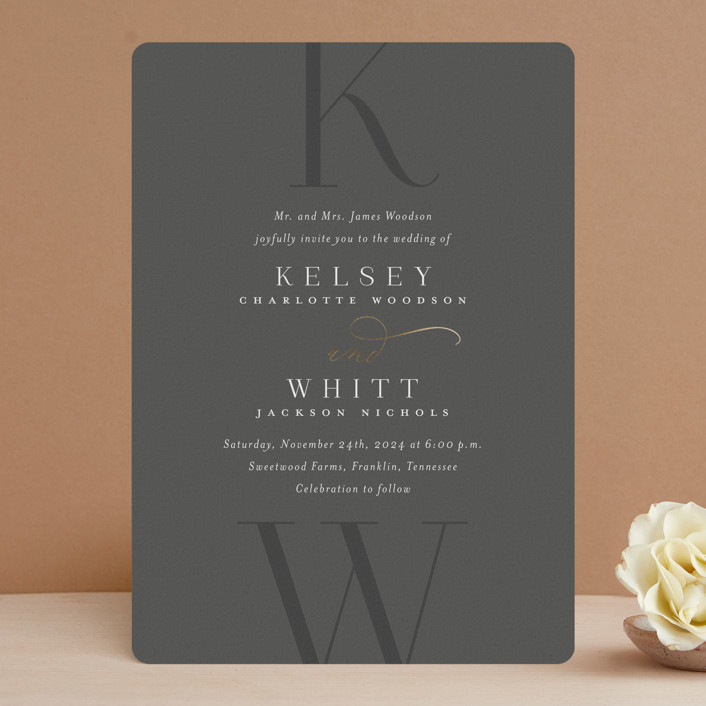 """""""Over Monogram"""" - Foil-pressed Wedding Invitations in Stormy by Jessica Williams."""