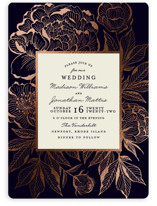 This is a blue foil stamped wedding invitation by Chris Griffith called Etched Peonies with foil-pressed printing on signature in standard.