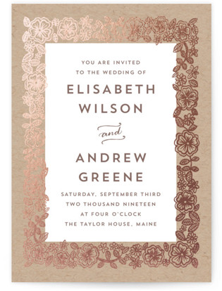 Elisabeth Floral Foil-Pressed Wedding Invitations