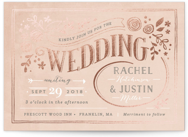 This is a landscape botanical, floral, rustic, vintage, pink Wedding Invitations by Jennifer Wick called Alabaster Florals with Foil Pressed printing on Signature in Classic Flat Card format. A vintage, chalkboard design with folk inspired florals and hand lettered type. ...