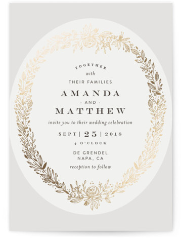 This is a portrait floral, grey Wedding Invitations by Phrosne Ras called Prettiest Wreath with Foil Pressed printing on Signature in Classic Flat Card format. A hand sketched wreath in a rich tan on pale pink.