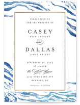 This is a blue foil stamped wedding invitation by Kelly Schmidt called Shimmering Waves with foil-pressed printing on signature in standard.