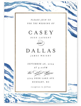 Shimmering Waves Foil-Pressed Wedding Invitations