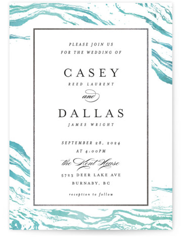 This is a portrait beach, rustic, blue, silver Wedding Invitations by Kelly Schmidt called Shimmering Waves with Foil Pressed printing on Signature in Classic Flat Card format. The blue marbled effect hints at waves, perfect for a lake, coastal or ...