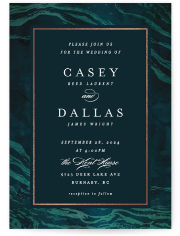 This is a portrait beach, rustic, green, rosegold Wedding Invitations by Kelly Schmidt called Shimmering Waves with Foil Pressed printing on Signature in Classic Flat Card format. The blue marbled effect hints at waves, perfect for a lake, coastal or ...
