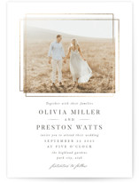 This is a white foil stamped wedding invitation by Robert and Stella called Regent with foil-pressed printing on signature in standard.