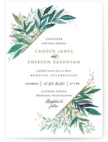 This is a gold foil stamped wedding invitation by Alethea and Ruth called Painted Leaves Corner with foil-pressed printing on signature in standard.