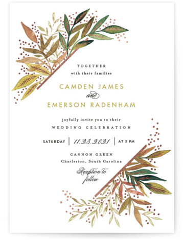 This is a portrait botanical, painterly, green, rosegold, yellow Wedding Invitations by Alethea and Ruth called Painted Leaves Corner with Foil Pressed printing on Signature in Classic Flat Card format. This wedding invite features painted leaves tucked behind a geometric ...