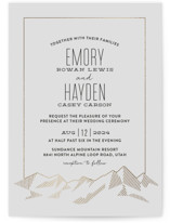 This is a grey foil stamped wedding invitation by Rebecca Daublin called Mountain Vista with foil-pressed printing on signature in standard.
