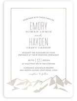 This is a white foil stamped wedding invitation by Rebecca Daublin called Mountain Vista with foil-pressed printing on signature in standard.
