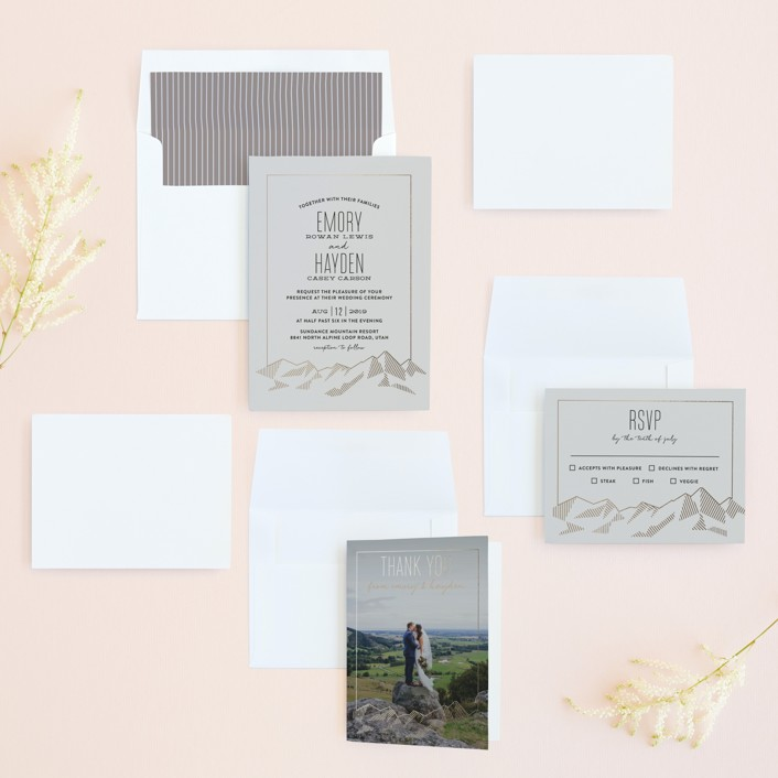 Mountain Vista FoilPressed Wedding Invitations by Rebecca Daublin