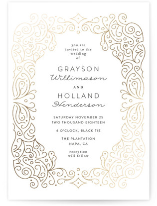 Ornate Frame Foil-Pressed Wedding Invitations