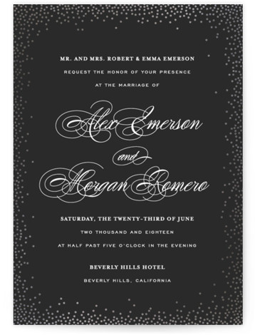 This is a portrait preppy, black Wedding Invitations by Design Lotus called Promise with Foil Pressed printing on Signature in Classic Flat Card format. Confetti dot border with elegant classic type