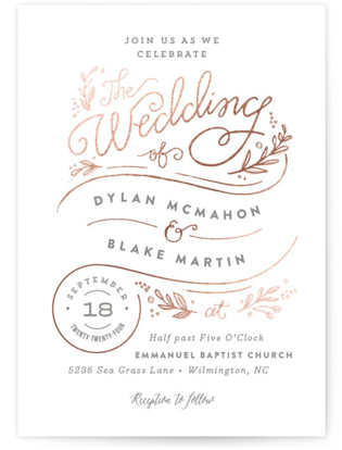 Rolling Names Foil-Pressed Wedding Invitations