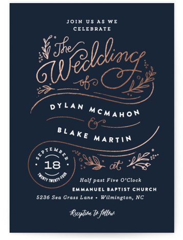 This is a portrait botanical, rustic, blue Wedding Invitations by Jennifer Wick called Rolling Names with Foil Pressed printing on Signature in Classic Flat Card format. A thoughtful, hand lettered design featuring script lettering, flourishes and leaves, great for a ...