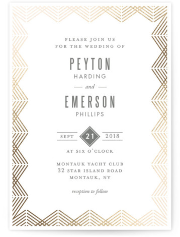This is a portrait geometric, vintage, yellow Wedding Invitations by Kampai Designs called Shine with Foil Pressed printing on Signature in Classic Flat Card format. An elegant rose gold wedding invitation with an art deco feel.