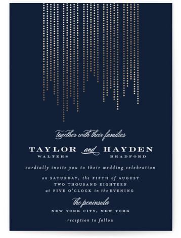 This is a portrait modern, blue Wedding Invitations by Shirley Lin Schneider called Sparkle with Foil Pressed printing on Signature in Classic Flat Card format. A minimalist yet elegant wedding invitation featuring hand drawn dotted lines perfect for a formal ...
