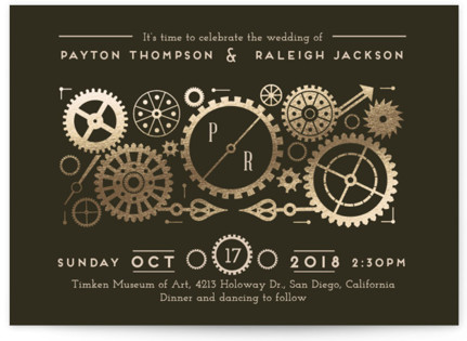 Steampunk Foil Pressed Wedding Invitations