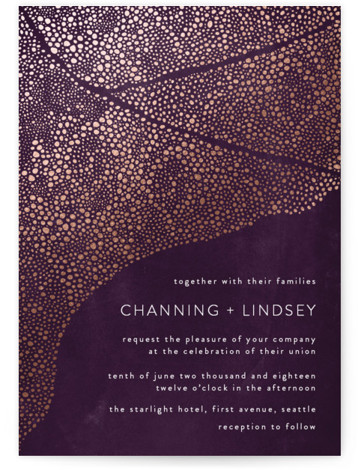 This is a portrait bohemian, purple Wedding Invitations by Phrosne Ras called The Milky Way with Foil Pressed printing on Signature in Classic Flat Card format. A hand drawn scene reminiscent of the milky way, dreamy and dramatic on a ...