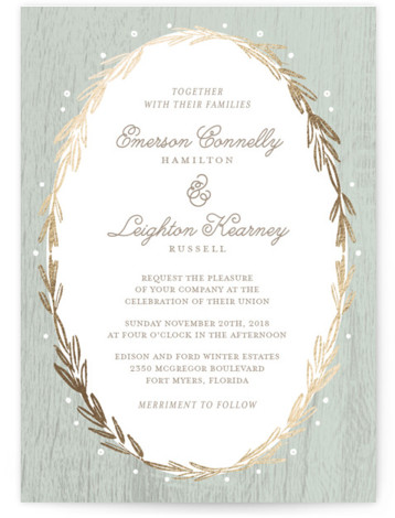 This is a portrait botanical, rustic, green Wedding Invitations by Kelly Nasuta called Winter Wreath with Foil Pressed printing on Signature in Classic Flat Card format. Gold winter wreath combined with berries and an organic wood grain texture